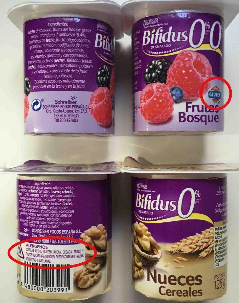 etiquetado del gluten alimento exento