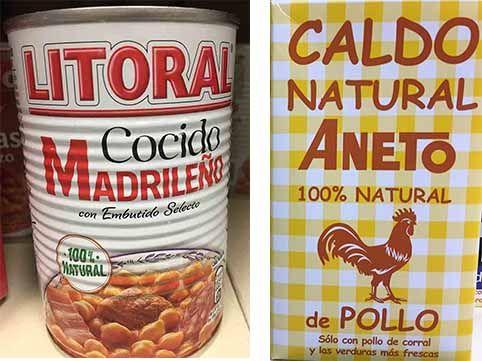 natural cocido y caldo