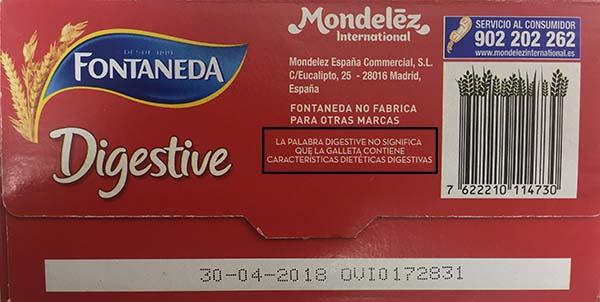 galletas digestive etiquetado Fontaneda
