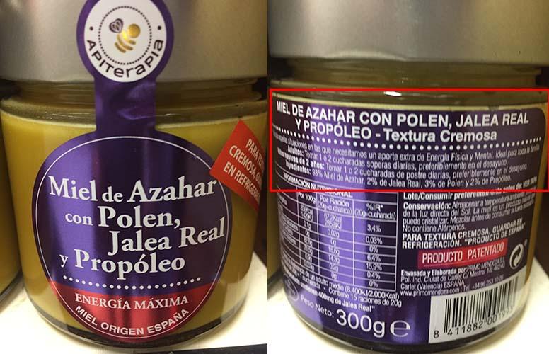 miel etiquetado con polen